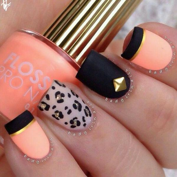 If you're working on a quirky and sassy design, this black orange and ... - 50 Matte Nail Polish Ideas Art And Design