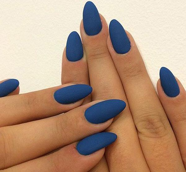 Another simple and yet striking nail design with the coffin nail shape. - 50 Matte Nail Polish Ideas Art And Design