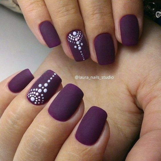 Add some white patterns on your matte plum nail ... - 50 Matte Nail Polish Ideas Art And Design
