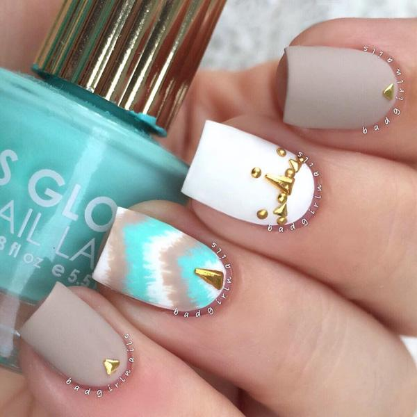The plain nail polishes with the golden studs, we have seen. - 50 Matte Nail Polish Ideas Art And Design