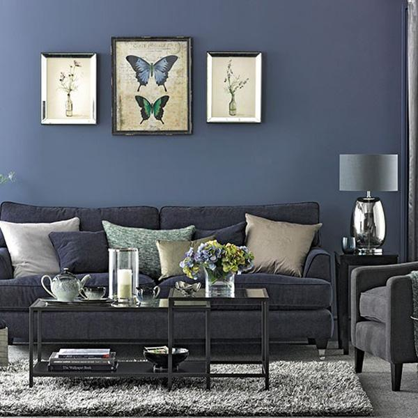 Denim Blue and Grey Living Room Ideal