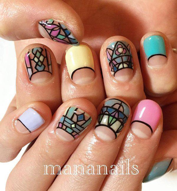 These beautiful nail art designs will make you think of church windows. - 50 Half Moon Nail Art Ideas Art And Design