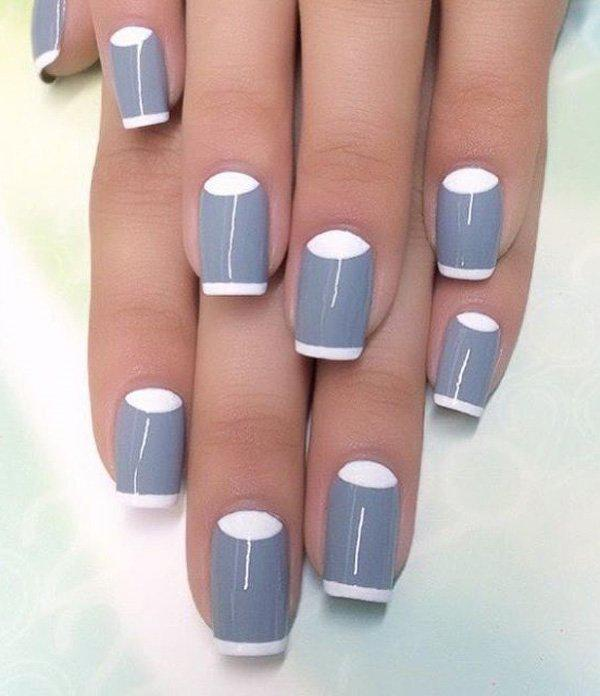 Gray is not normally a color for nail polish. But here, it works really ... - 50 Half Moon Nail Art Ideas Art And Design