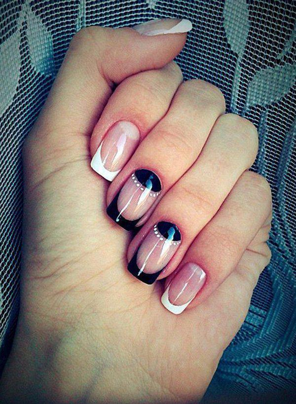 A classic French tip will never go out of style. - 50 Half Moon Nail Art Ideas Art And Design