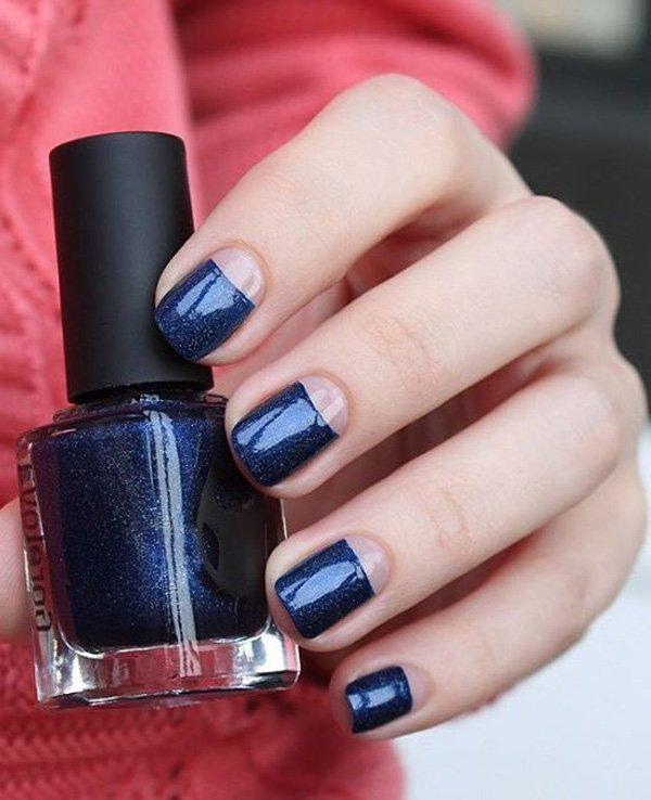 Midnight blue is a really bueatiful color whether completely covering your  nails or if you have ... - 50 Half Moon Nail Art Ideas Art And Design