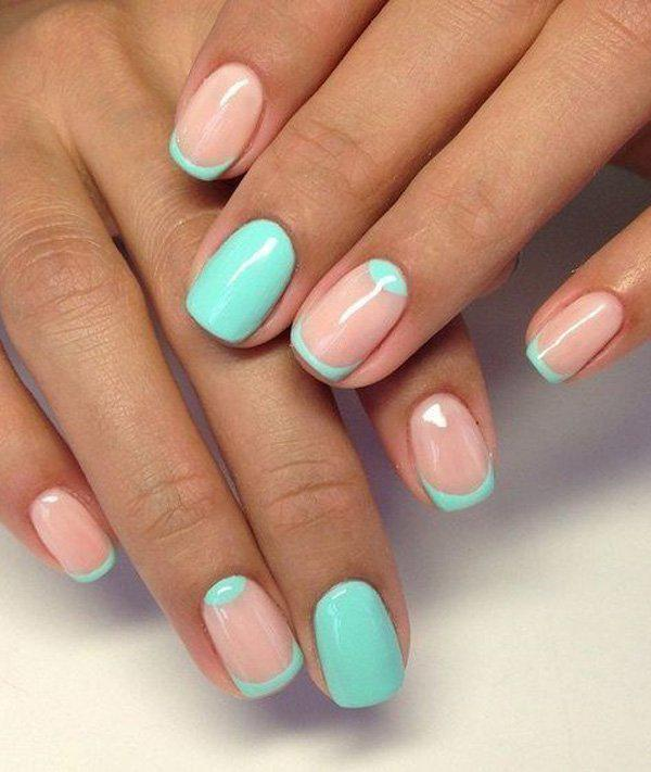 Another wonderful and refreshing minimalist nail art designs is a mint  green and nude combination with ... - 50 Half Moon Nail Art Ideas Art And Design