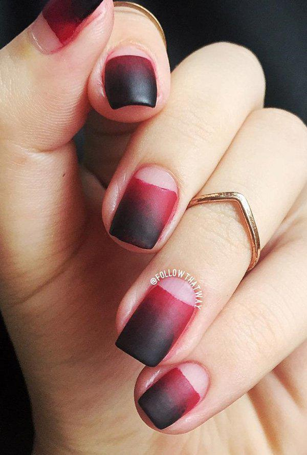 This matte black or red ombre looks a bit subtle with the naked Half moon  design ... - 50 Half Moon Nail Art Ideas Art And Design