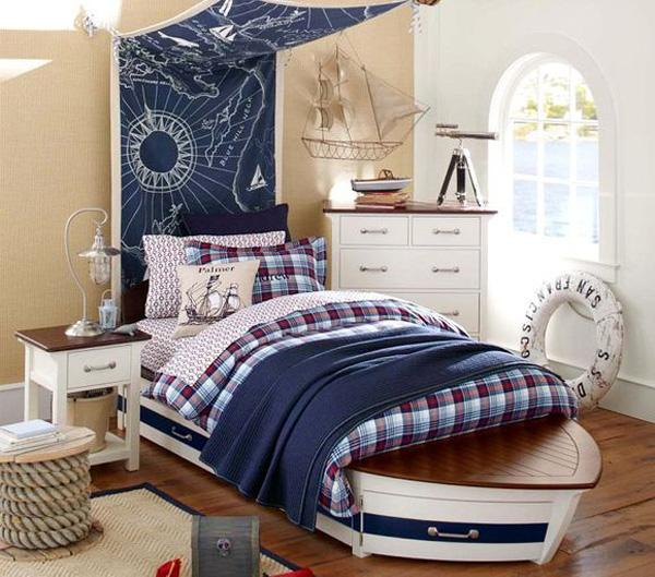 Nautical room for kids navy and white