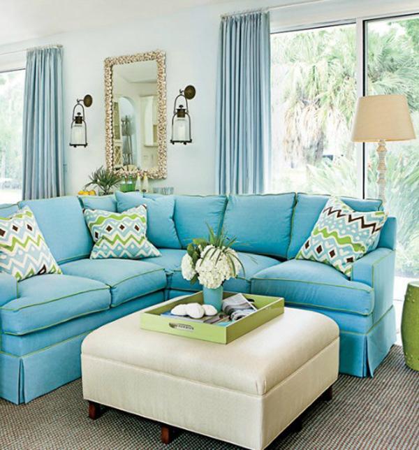 blue sandy beige coastal livingroom