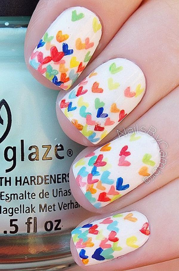 rainbow nail art-1