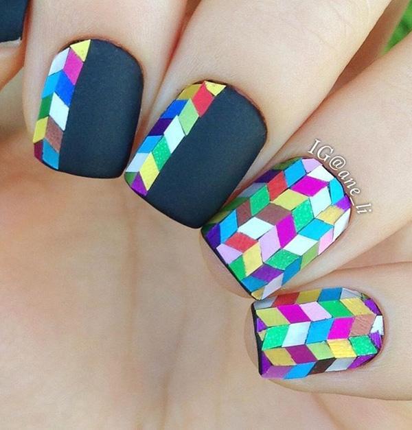 rainbow nail art-11