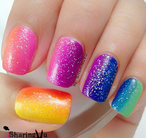 rainbow nail art-14
