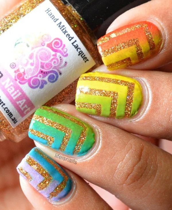 rainbow nail art-15
