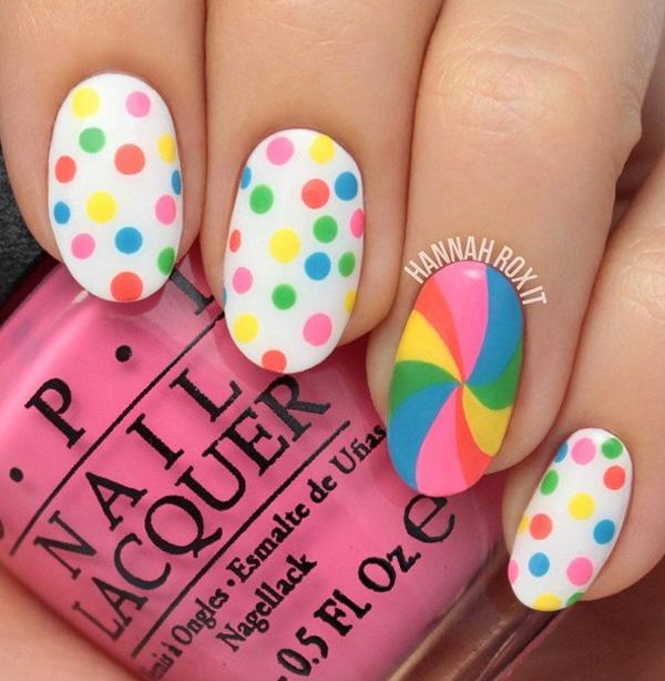 30 rainbow nail art ideas art and design be preppy and flirty with these cute rainbow polka dots and swirly fun use lighter solutioingenieria Choice Image