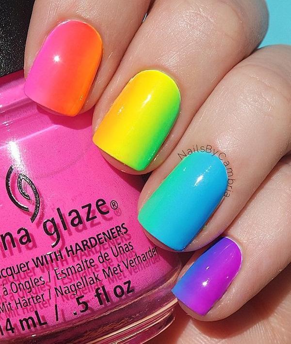rainbow nail art-2