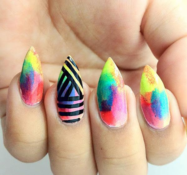 Balance out those sharp nails with some rainbow action. But still make it  look edgy ... - 30+ Rainbow Nail Art Ideas Art And Design