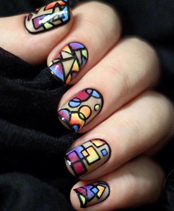 rainbow nail art-21