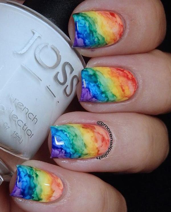 rainbow nail art-22