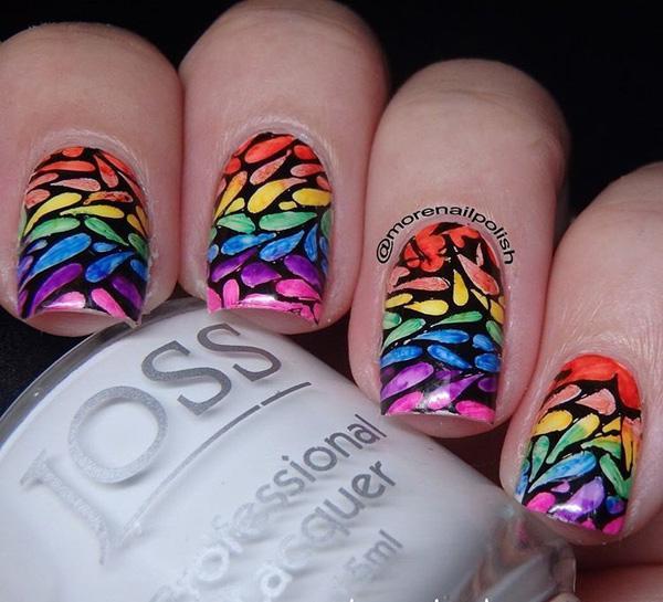 rainbow nail art-23