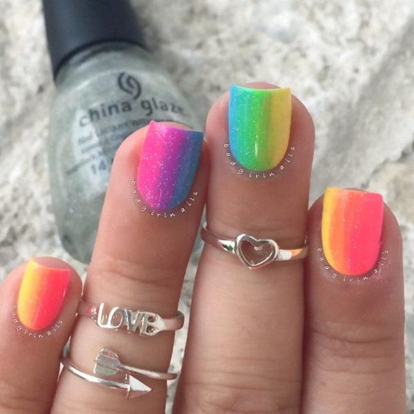 rainbow nail art-4