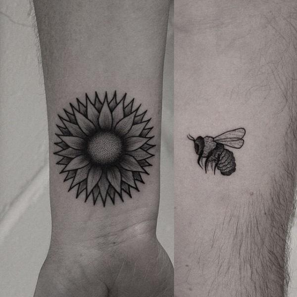 7 flower and bee couple tattoo