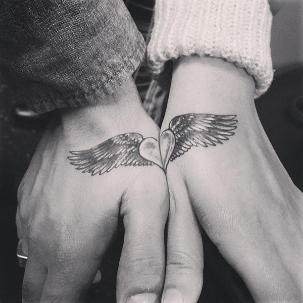 Angel Winged Heart Couple Tattoo