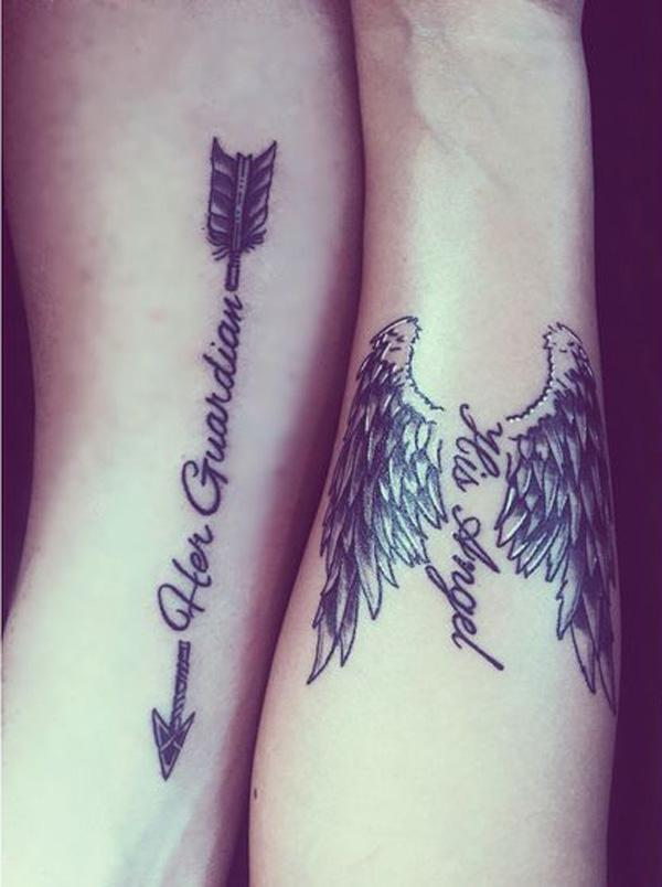 Me and my loves couple tattoo we created. Her Guardian His Angel