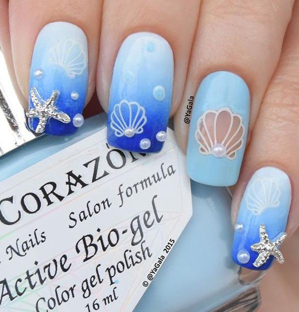 blue seashell nail art-2