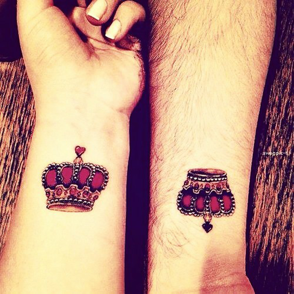 colored crown couple tattoo