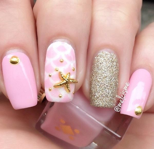 cut pink seashell nail art-1