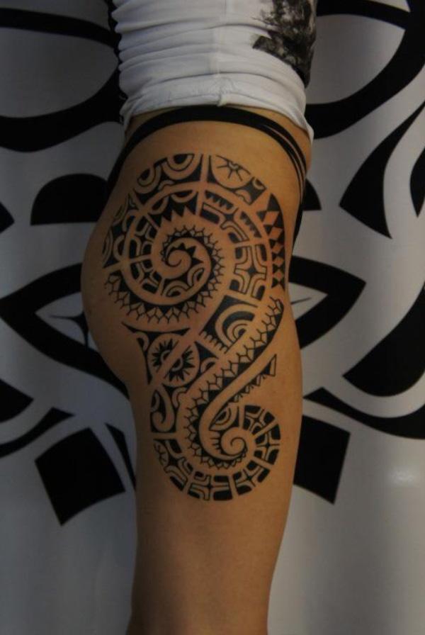 Marquesan full leg tattoo for women