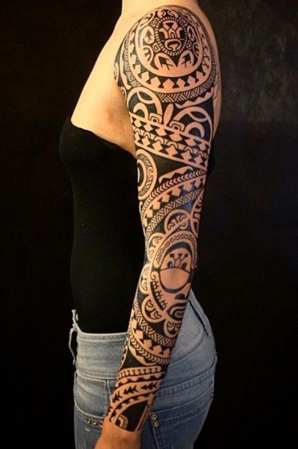 Marquesan Full Sleeve Tattoo Design