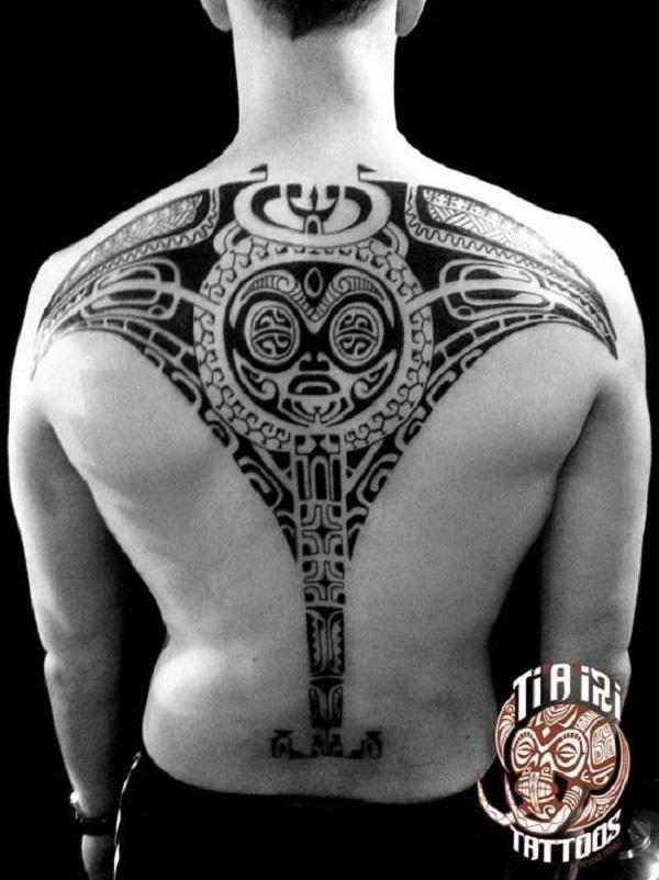 Polynesian Ray back tattoo