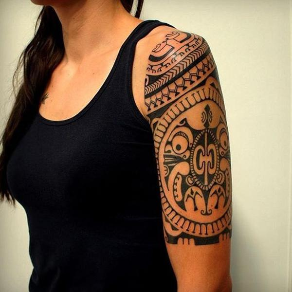 Marquesan Half Sleeve Tattoo Design for Women
