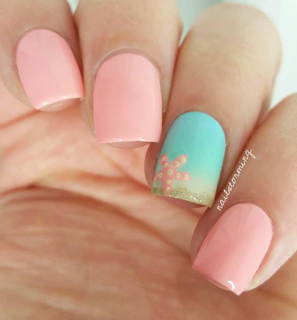 Gently pink gel is always in fashion for ladies. - 45 Ocean Nail Art Ideas Art And Design