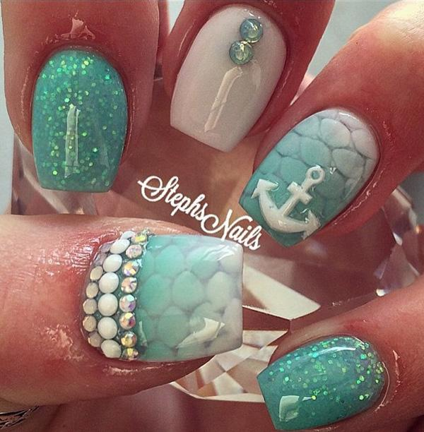 A little glitter and decorations can't hurt – not on the beach. - 45 Ocean Nail Art Ideas Art And Design