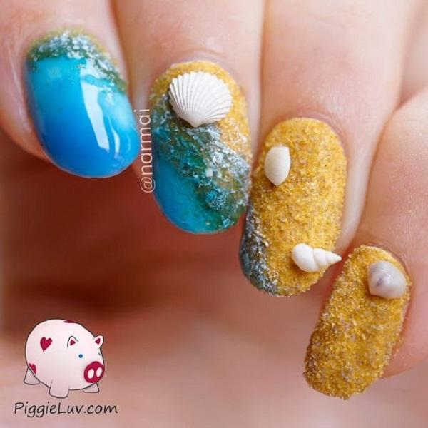 And yellow can complete your nail art ocean as reminiscent of sand. - 45 Ocean Nail Art Ideas Art And Design