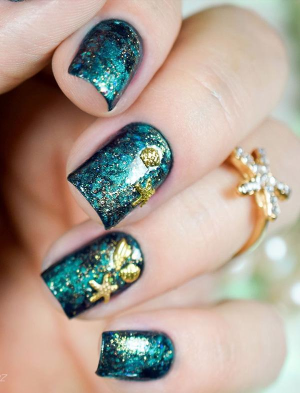 Depths of the sea painted on our nails. - 45 Ocean Nail Art Ideas Art And Design