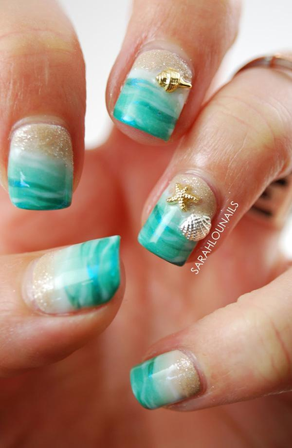 sea seashell nail art-3