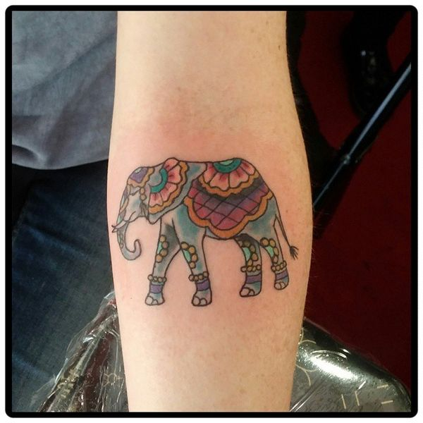 16 Colorful elephant tat on the inner arm