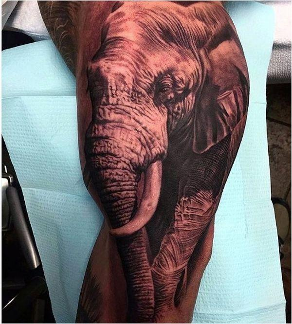28 realistic elephant tat on leg