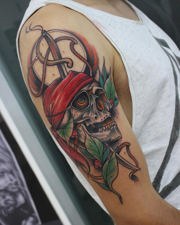 Colored sword  and skull tattoo on sleeve-10