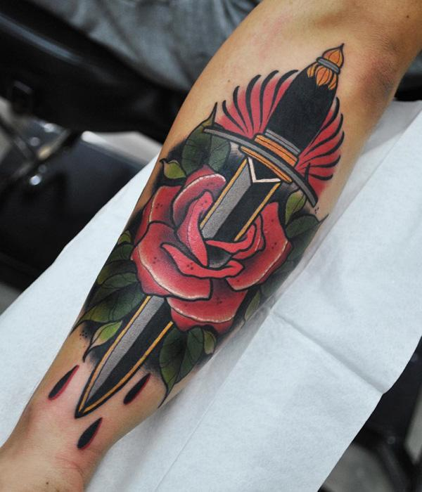 Colored sword with rose tattoo-11