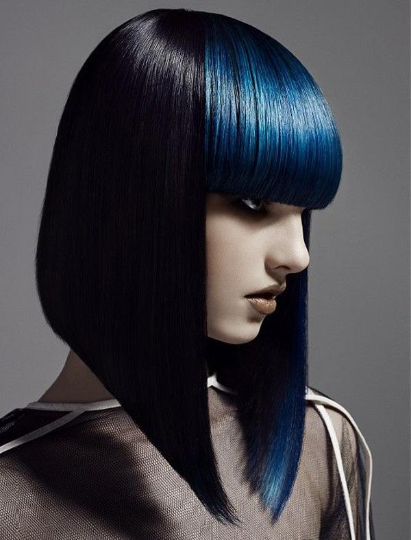 sharp bob contrasts with blunt electric blue fringe