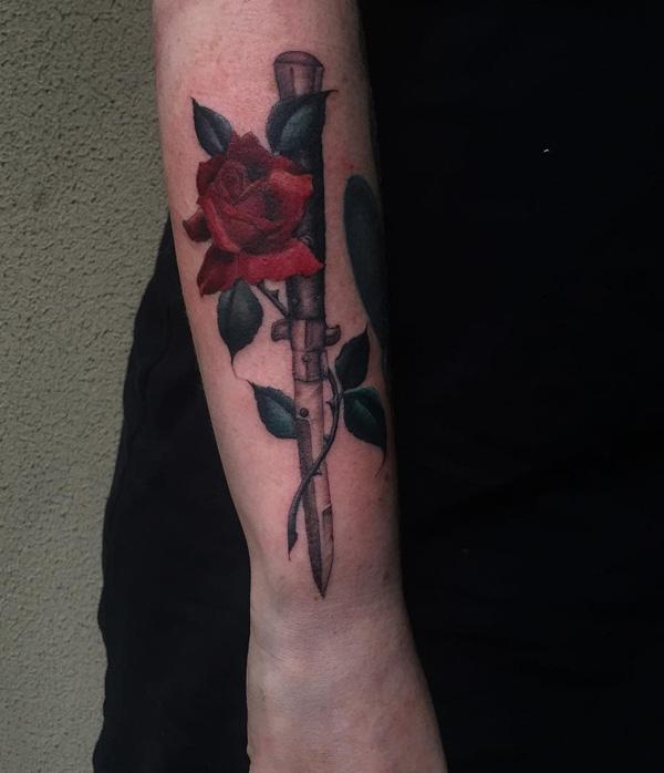 sword with rose tattoo on sleeve-23