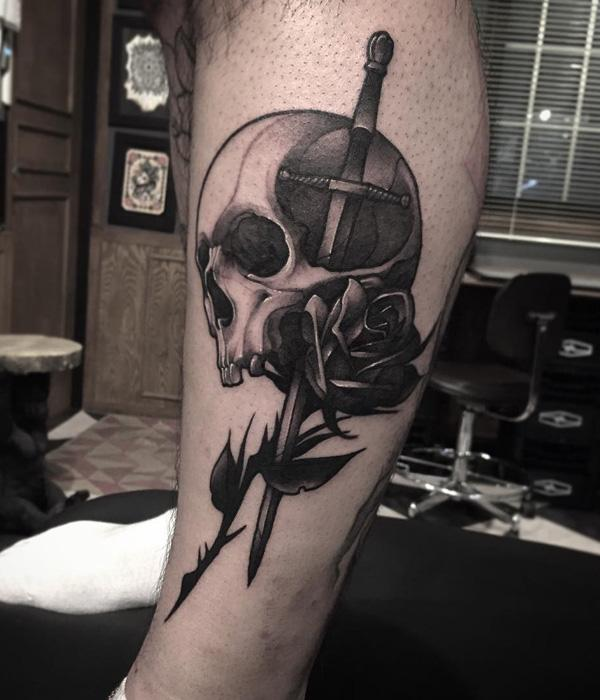 sword wtih skull and rose  tattoo-34
