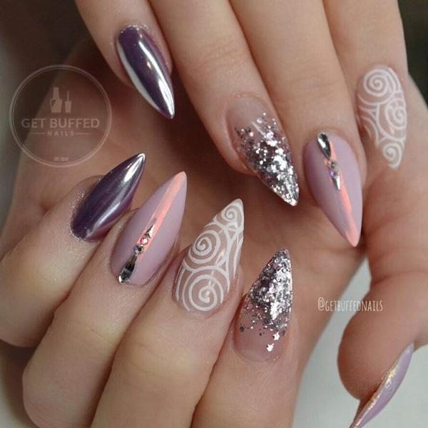 50 almond nail designs art and design these nails remind me of the universe galaxy stars on something glamorous prinsesfo Image collections