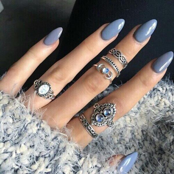 When you get bored of gentle pastel colors, select gray. - 50+ Almond Nail Designs Art And Design