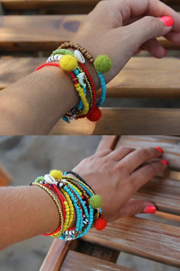 Bracelet Pom Pom Bone Beads Colorful-11