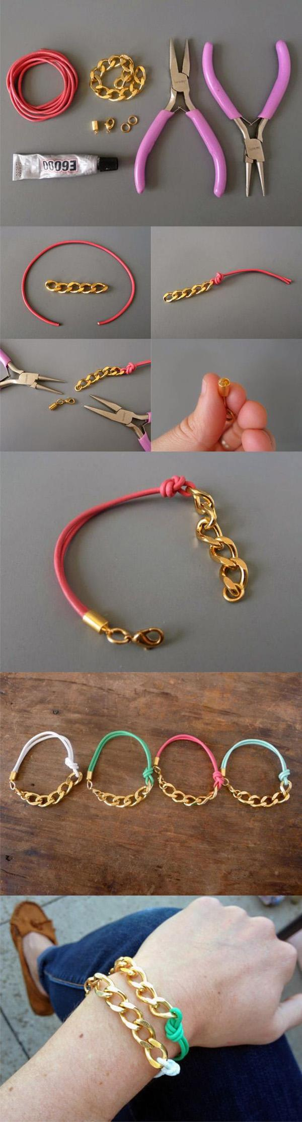 Bracelet with chain and leather cord-13